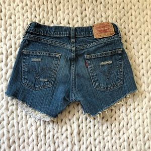 Levi's Distressed Ripped Jean Shorts